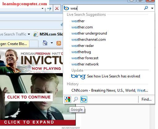 internet search bar ie8