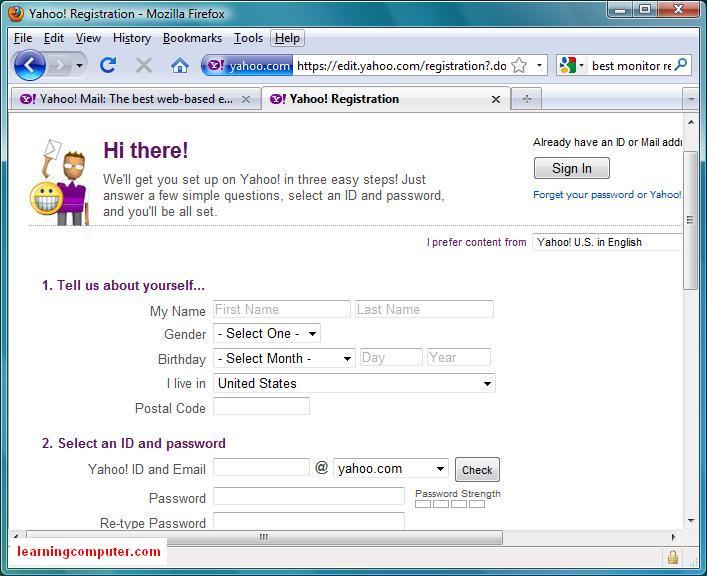Yahoo Mail registration