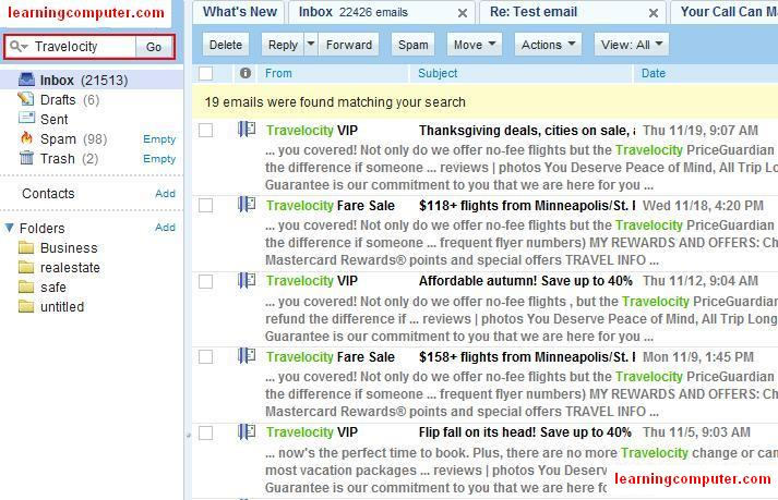 Using Search Mailbox in Yahoo email!