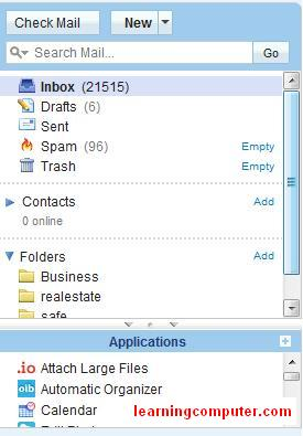 Using default email folders in yahoo mail
