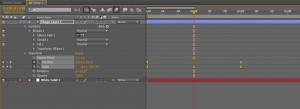 Showing the timeline in the composition panel for Adobe After Effects. Selected keyframes change from diamond shapes to hourglass shapes, indicating they will ease motion.