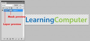 Adobe Photoshop Layers panel showing the layer preview and mask preview. 'Learning Computer' logo is next to the layers panel.
