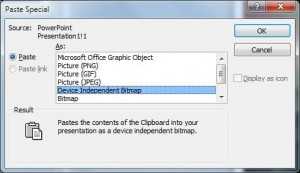 Microsoft PowerPoint 'Paste Special' dialog box for images. Several image formats are shown on a list. 'Device Independent Bitmap' is selected.