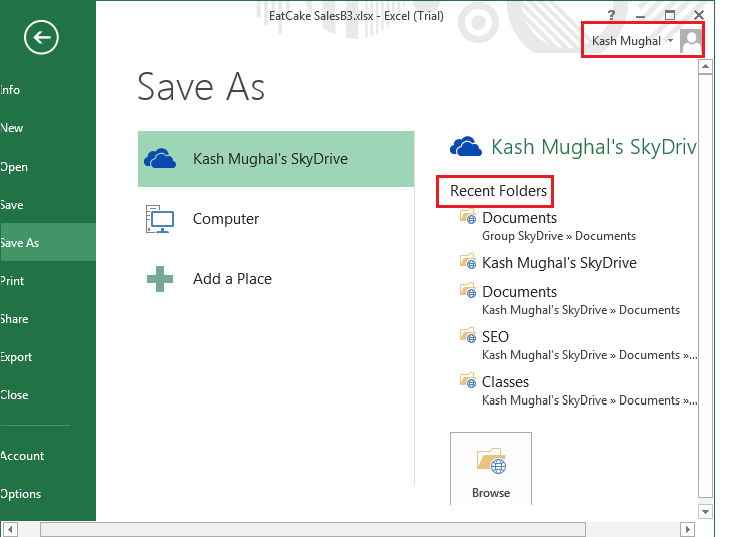 MS 2013 Tutorial on Excel Save to SkyDrive7