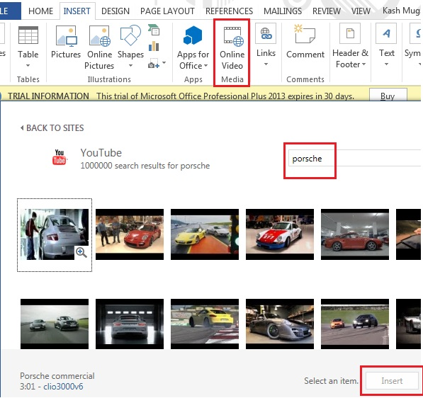 MS word 2013 insert video8