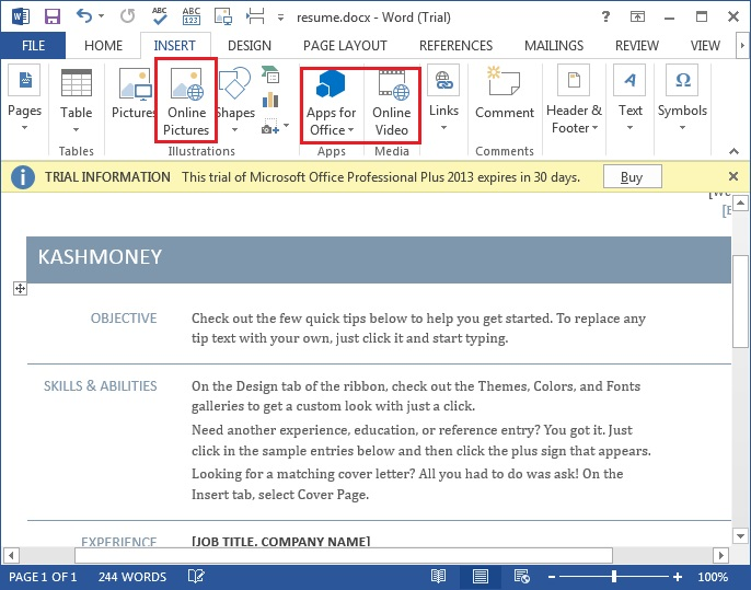 MS word 2013 new features6