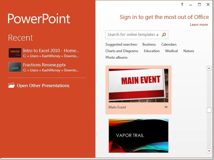 Ms office 2013 powerpoint tutorial the basics microsoft powerpoint 2013 opening screen toneelgroepblik Images