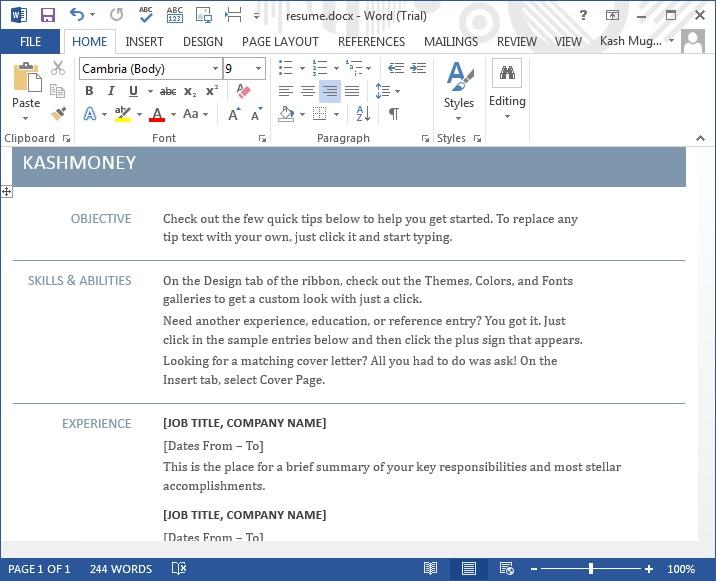 microsoft office word 2013