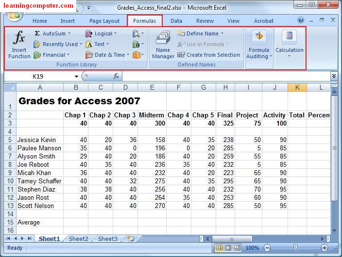 excel assignments