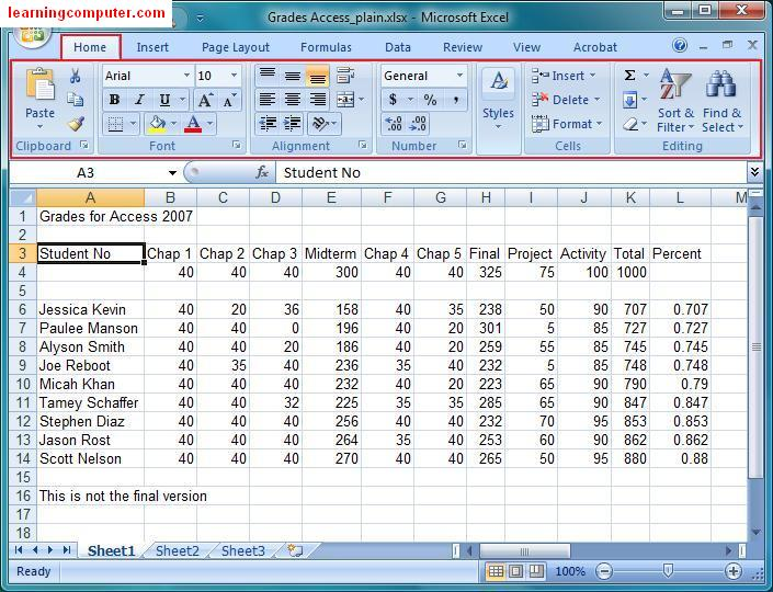 Microsoft Excel 2007 Tutorial – Home Tab | Softknowledge's