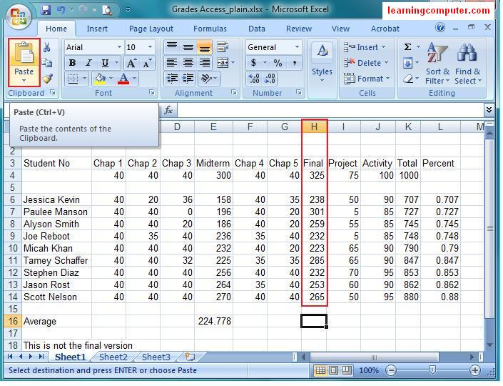 Microsoft excelhome tab see the average score a little clearly we will cover changing column width in a different excel tutorial this is shown in the two screen shots below freerunsca Images
