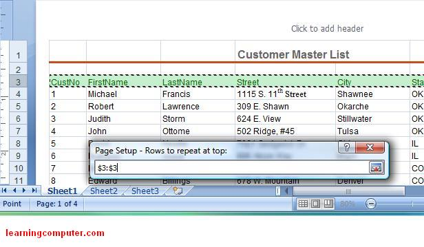 How to repeat row and column headings when you print in for Table design tab excel