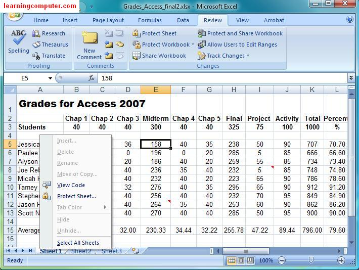Microsoft Tutorial Excel Review Tab. The Last Functionality That We Will Look At Is Protecting And Sharing Your Workbook This Let You Protect Data Using A Password When Working On. Worksheet. Protect Worksheet In Excel At Clickcart.co