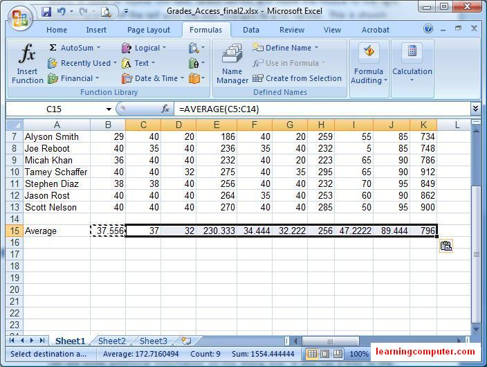 excel examples for students