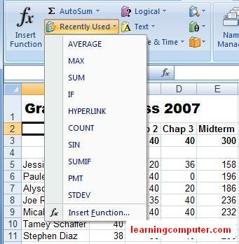 recently used excel functions 10