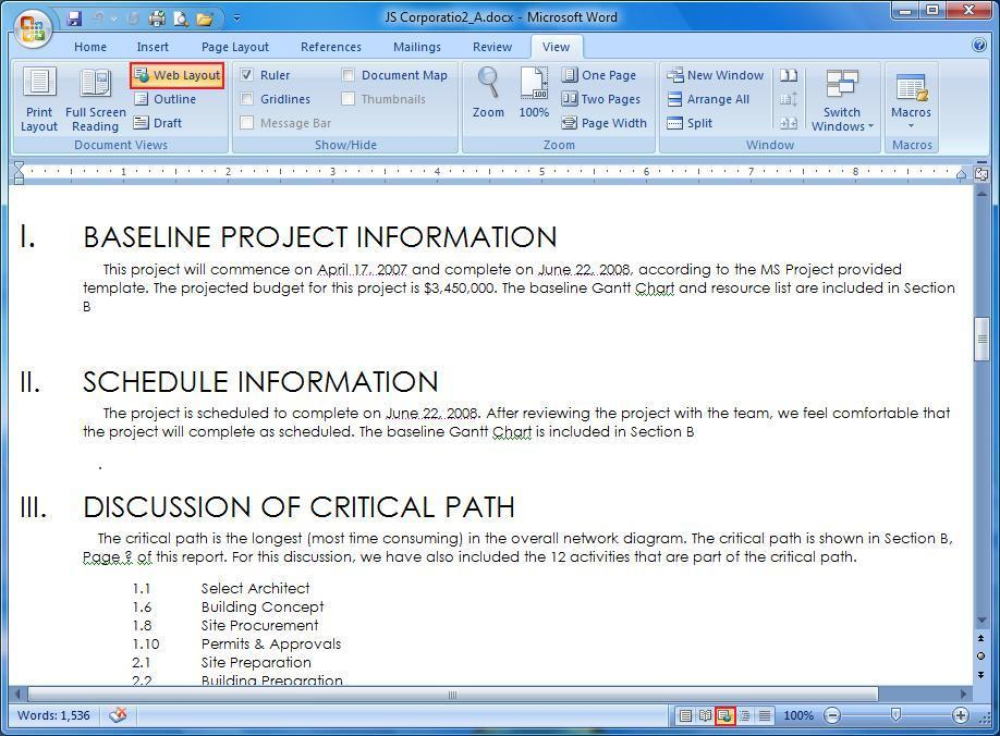Web Layout in MS 2007