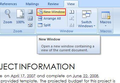 Window group in MS 2007