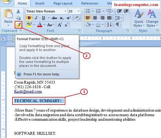 Microsoft Word 2007home Tab
