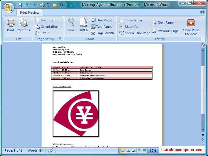 Microsoft Word 2007::Insert Tab - IT distance learning