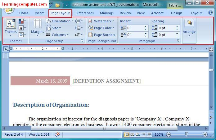 Microsoft Office Word 2007::Page Layout Tab In Word