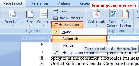 Hyphenation command under the Page Layout Tab 13