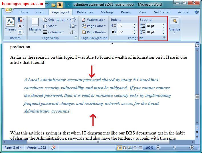 >Microsoft Word 2007 – Page Layout Tab