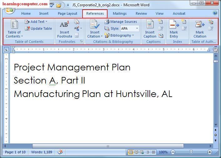 Microsoft Word 2007References Tab
