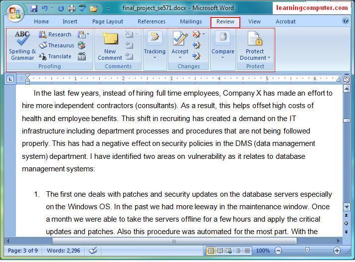 Microsoft Word::Review Tab - MS Review Tab
