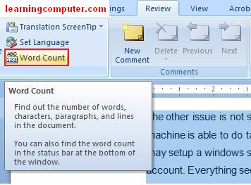 Highlighted word count feature in MS word