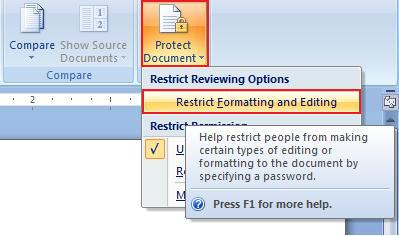 Protect a document from editing using Word 2007