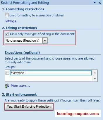 Rerstrict formating dialog box MS Word