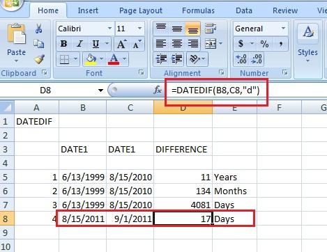 Excel-datedif-formula